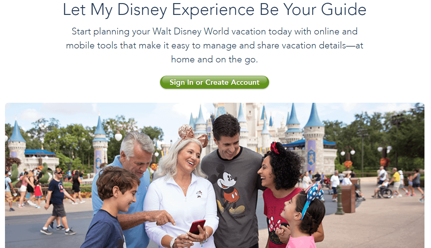 my disney experience homepage