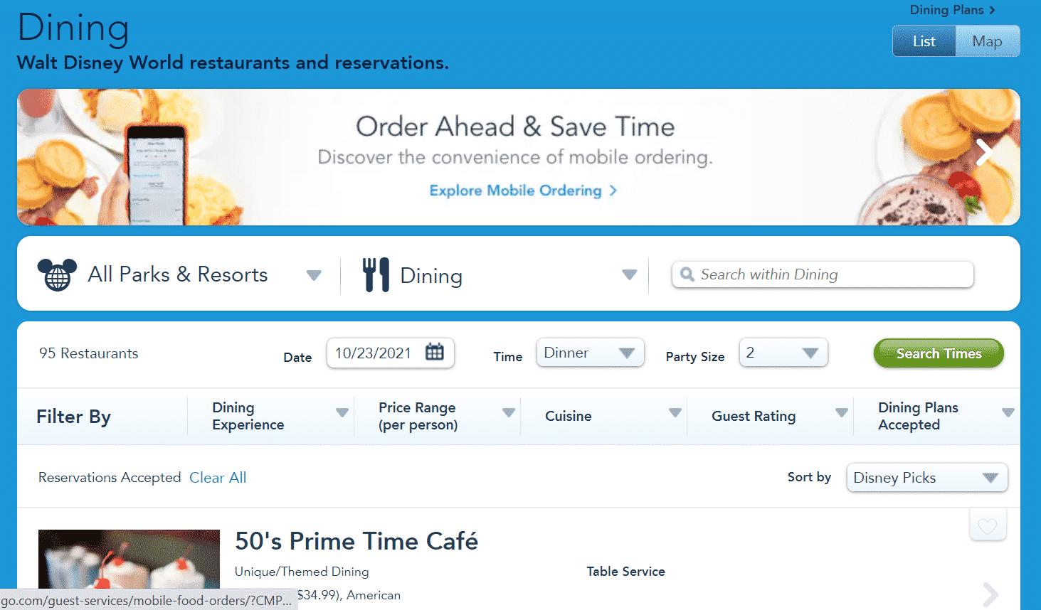 disney dining reservations